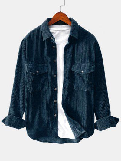 Double Pockets Button Up Corduroy Shirt - Deep Blue M