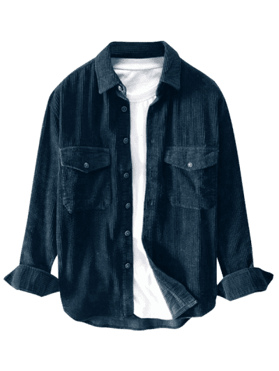 Double Pockets Button Up Corduroy Shirt