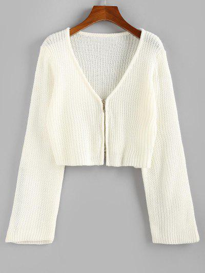 ZAFUL Cardigan Court Zippé - Blanc S