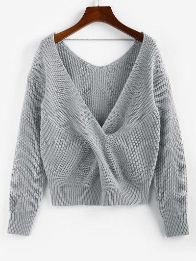 ZAFUL Twisted Plunging Drop Shoulder Sweater - Gray S