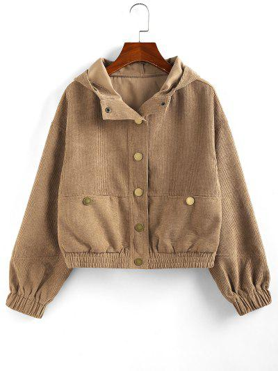 ZAFUL Hooded Corduroy Jacket - Brown Sugar S