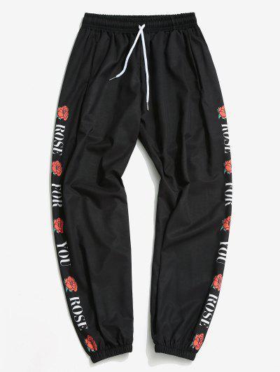Pantalones Ajustados Diseño Impreso Flor Rosa - Negro 3xl