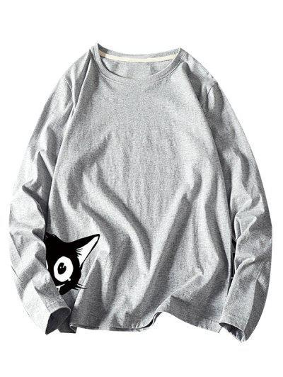Animal Print Long Sleeve Basic T-shirt - Gray M