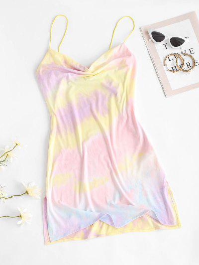 Cowl Neck Tie Dye Side Slit Cami Dress - Light Purple L