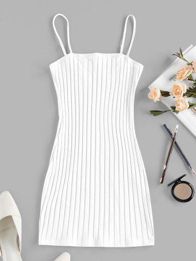 ZAFUL Ribbed Open Back Bodycon Dress - White S