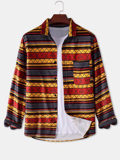 Geometric Stripes Pattern Pocket Patch Shirt - Yellow L