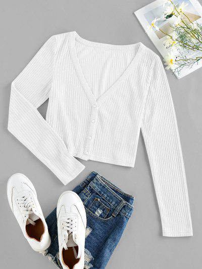 ZAFUL Ribbed Knit Crop Cardigan - Milk White S