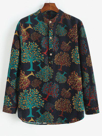 Trees Print Half Button Long Sleeve Shirt - Black S