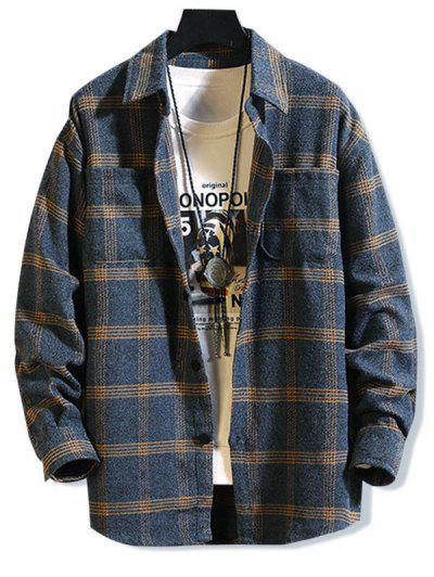 Long Sleeve Plaid Print Double Pockets Shirt - Deep Blue 2xl