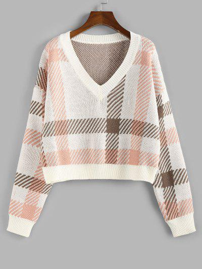 ZAFUL Plaid V Neck Sweater - Light Pink L