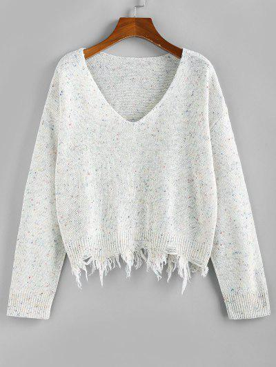 ZAFUL Frayed Hem Drop Shoulder Confetti Knit Sweater - White S