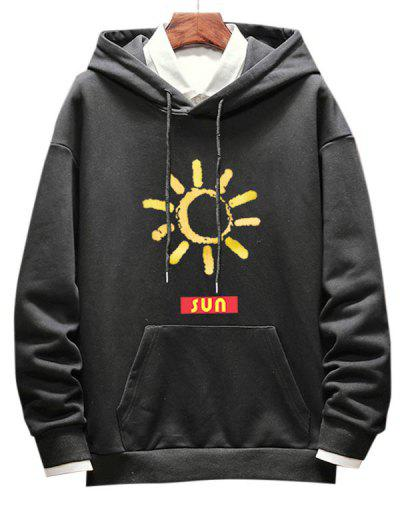 Sun Pattern Drop Shoulder Hoodie - Black L