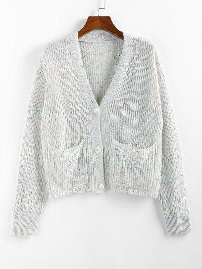 ZAFUL Drop Shoulder Confetti Knit Pocket Cardigan - White M