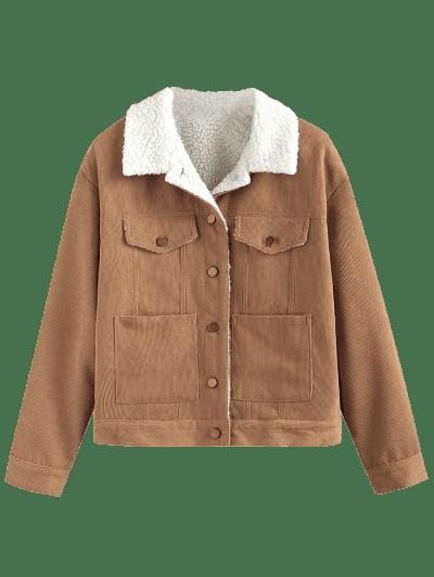 ZAFUL Corduroy Drop Shoulder Pocket Jacket