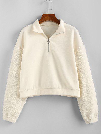 ZAFUL Faux Fur Sleeve Half Zip Sweatshirt - Warm White S