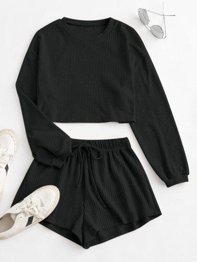 Knitted Drop Shoulder Drawstring Shorts Set - Black M