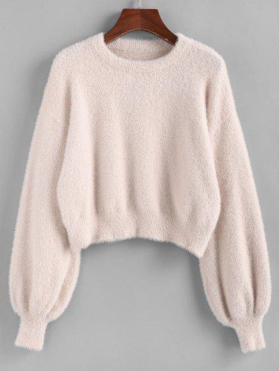 ZAFUL Fuzzy Lantern Sleeve Short Sweater - Light Pink M