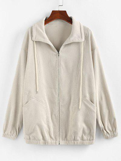 ZAFUL Corduroy Pocket Drop Shoulder Jacket - Light Khaki L