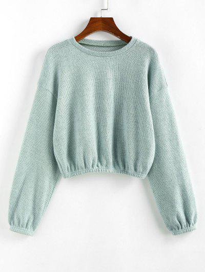 ZAFUL Plain Drop Shoulder Short Knitwear - Light Green M