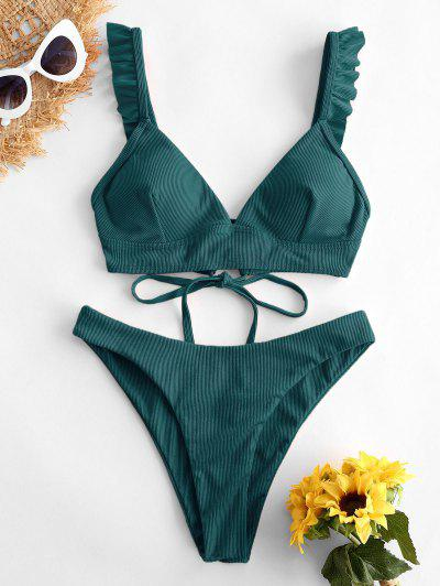 ZAFUL Pețiol Lace Up Aruncându Ruffle Bikini Costume De Baie - Deep Green L