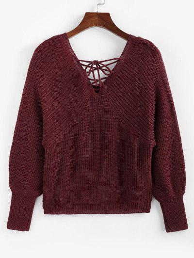 ZAFUL Lace Up Plunging Raglan Sleeve Jumper Sweater - Deep Red S