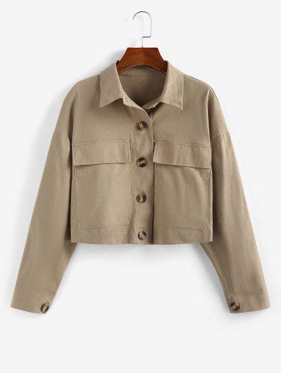 ZAFUL Drop Shoulder Pocket Crop Jacket - Tan Xl