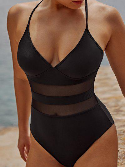 ZAFUL Mesh Insert Lace Up One-piece Swimsuit - Black Xl