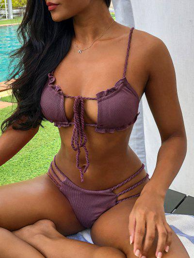 ZAFUL Ribbed Braided Ladder Cutout Tie Bikini Swimwear - Plum Pie M