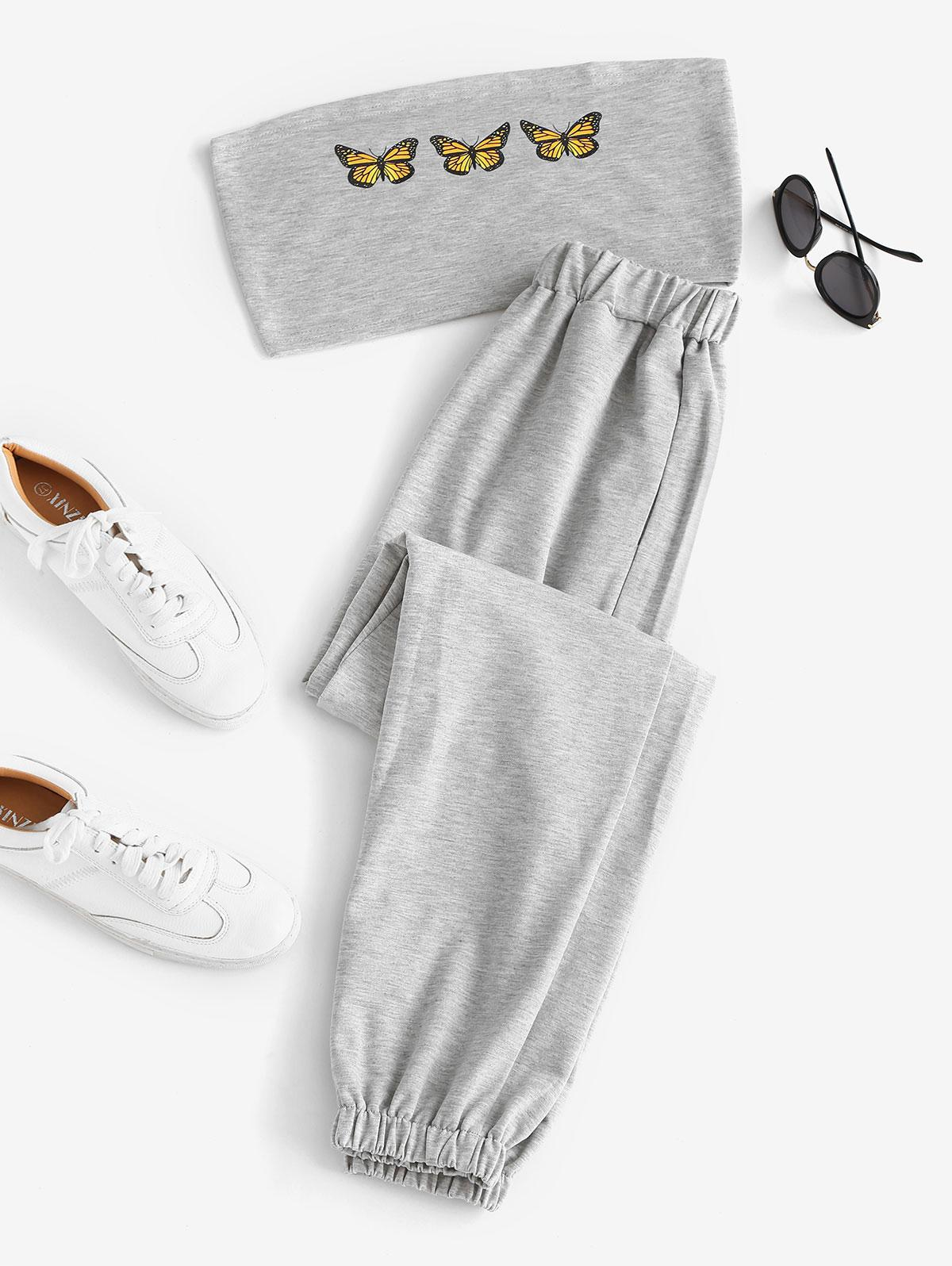 Butterfly Bandeau Top And Jogger Pants Set