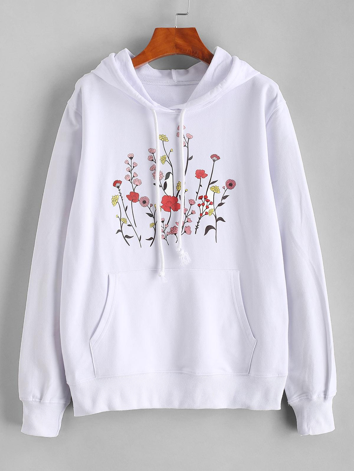 Floral Print Cotton Drawstring Pullover Hoodie