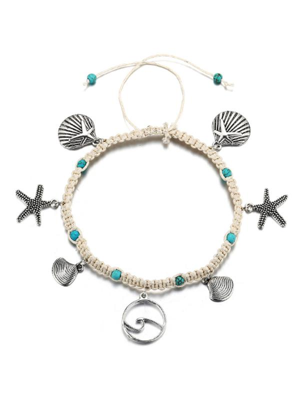 Starfish Shell Turquoise Woven Rope Anklet
