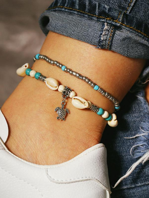 2 Piece Beaded Shell Tortoise Beach Anklets Set