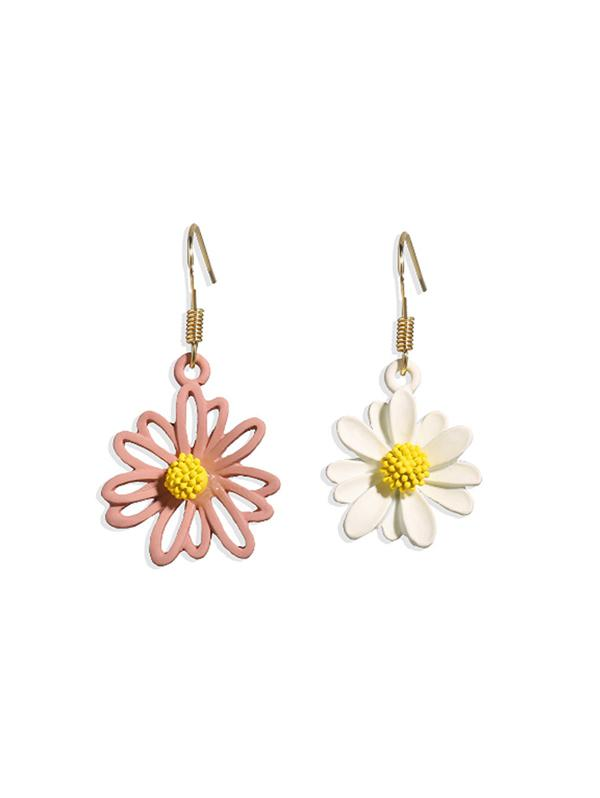 Daisy Floral Asymmetrical Hook Earrings