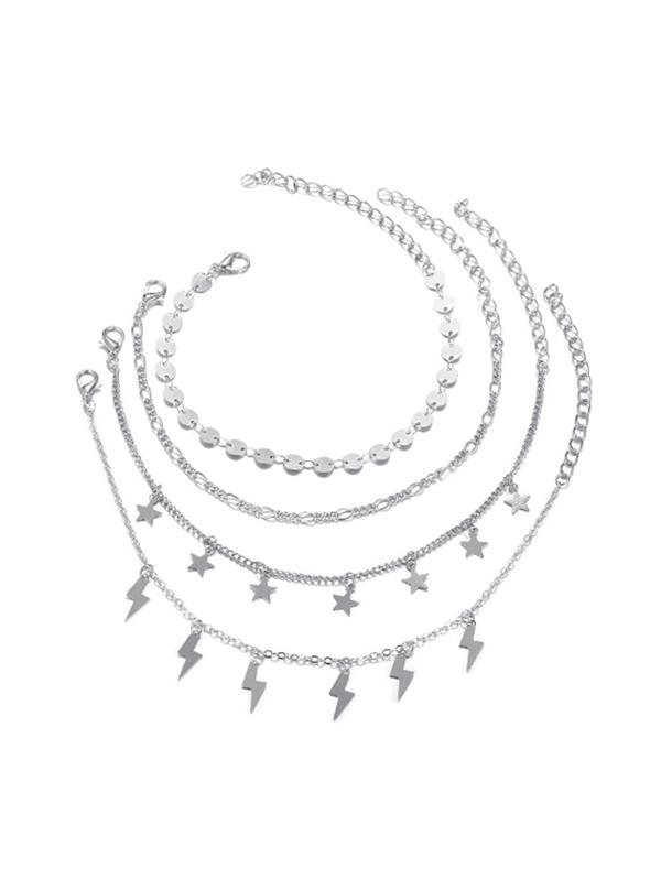 4 Piece Star Lighting Disc Chain Anklets Set