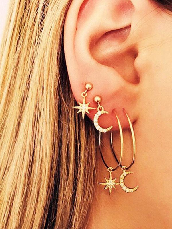 Rhinestone Star Moon Asymmetrical Drop And Hoop Earrings Set