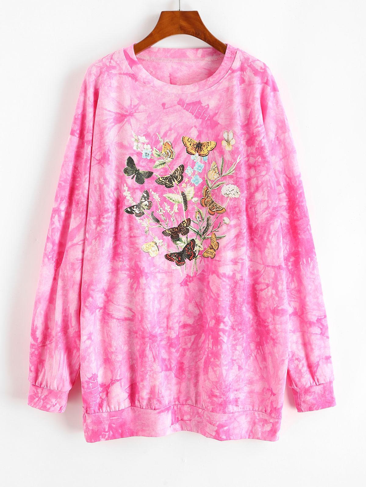 Tie Dye Butterfly Graphic Drop Shoulder Sweatshirt Dress