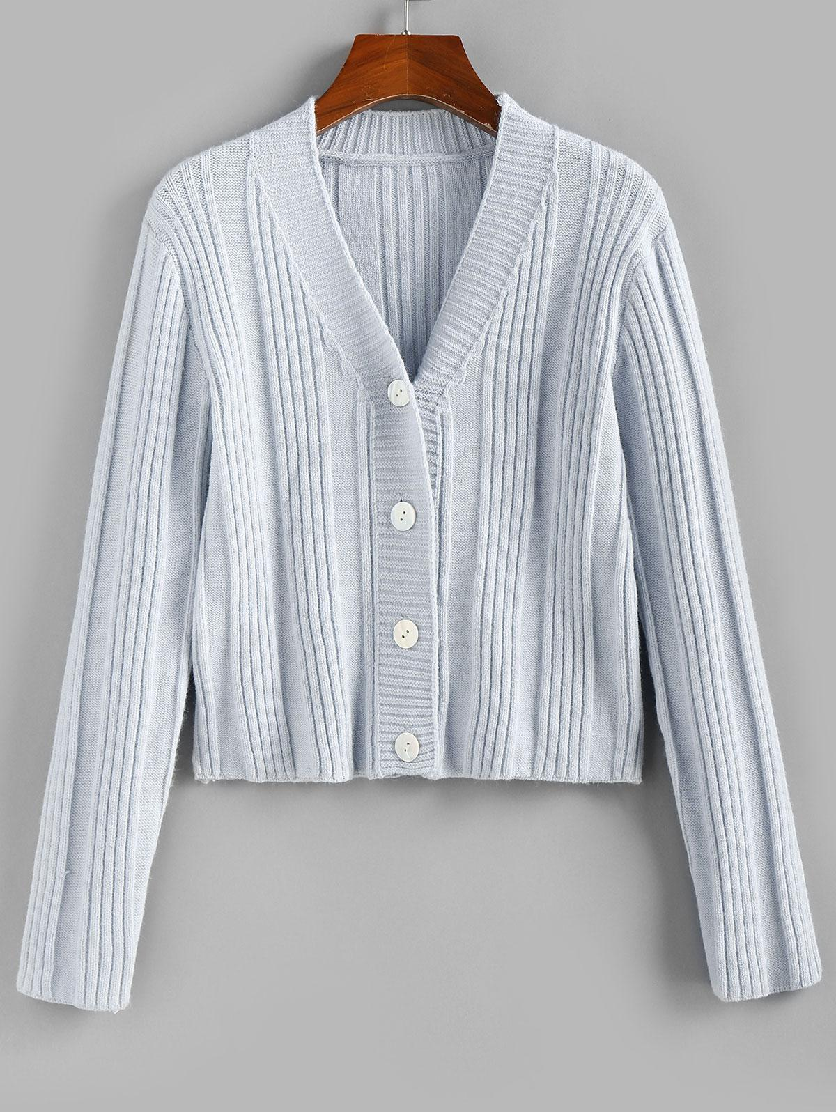ZAFUL Ribbed Plunging Button Up Cardigan