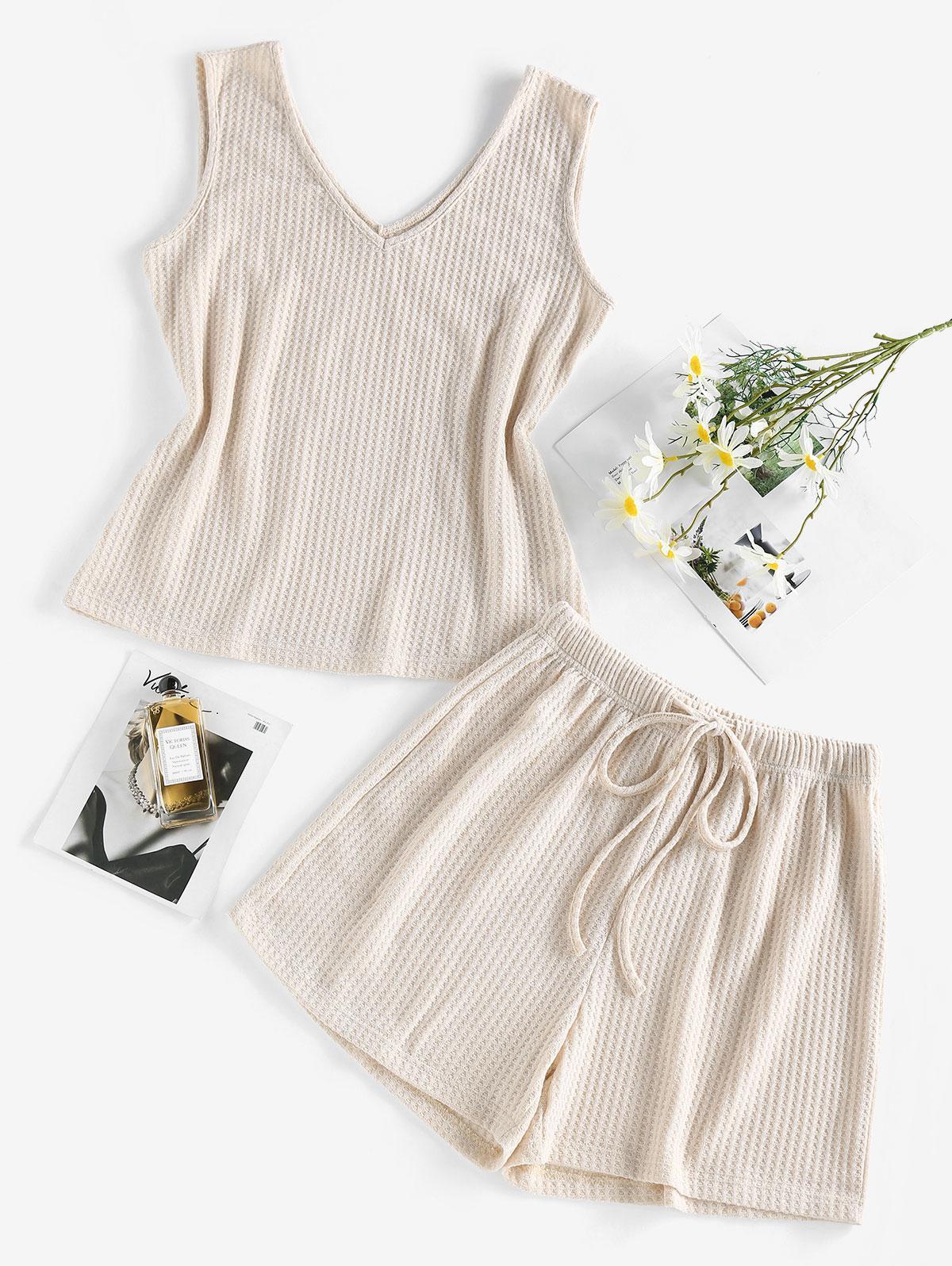 ZAFUL Knitted V Neck Drawstring Pajama Shorts Set
