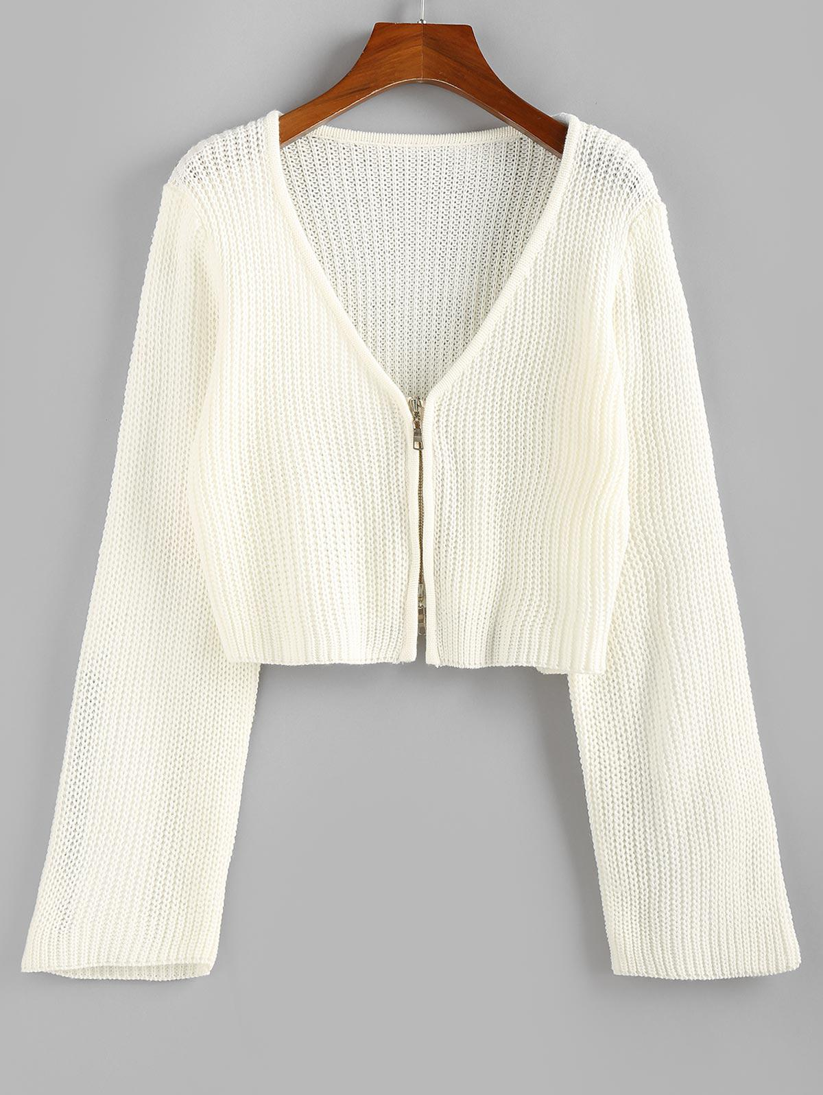 ZAFUL Cropped Zip Fly Cardigan