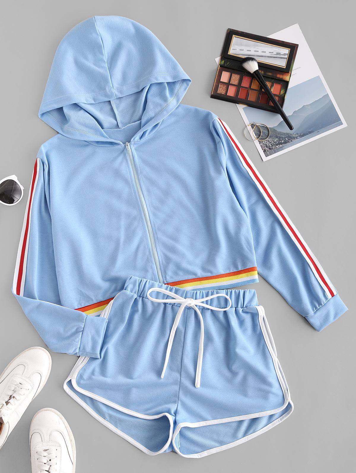 Striped Tape Hooded Drawstring Shorts Set