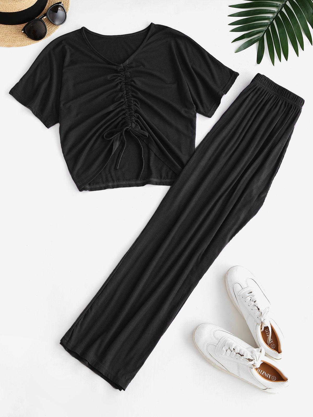 Cinched Ribbed Wide Leg Two Piece Pants Set