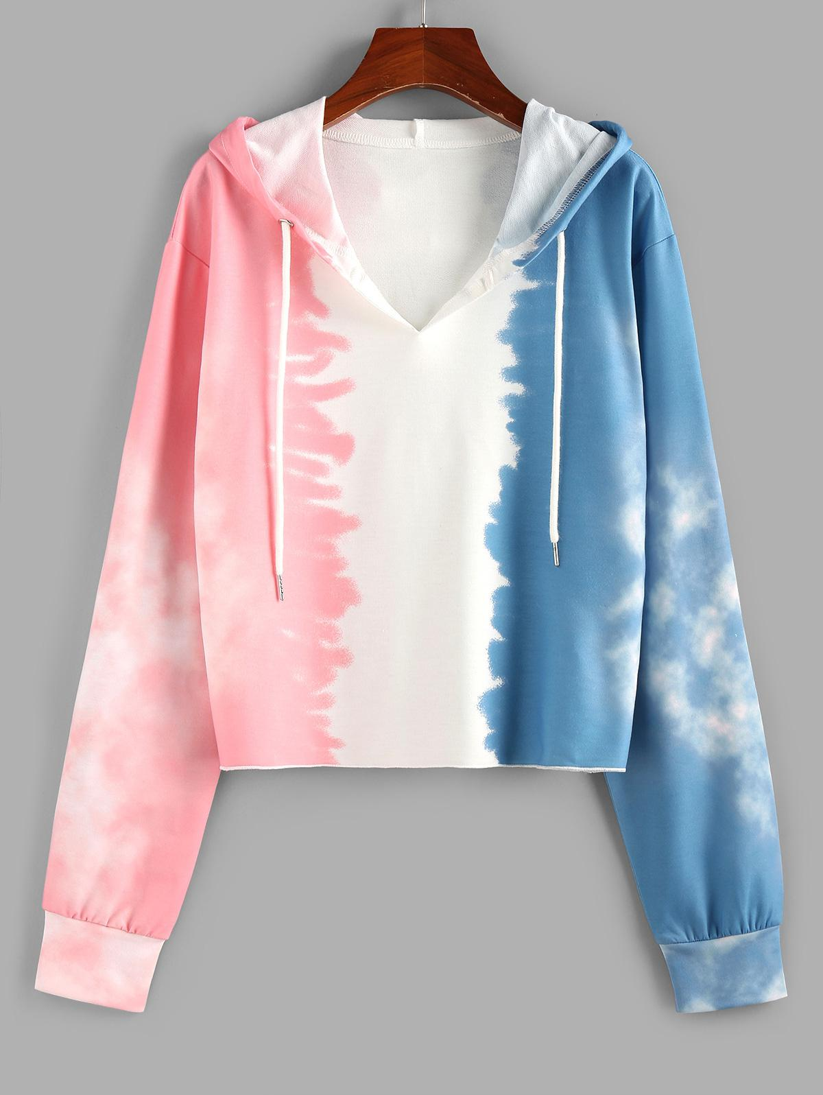 ZAFUL Tie Dye V Notch Drawstring Hoodie