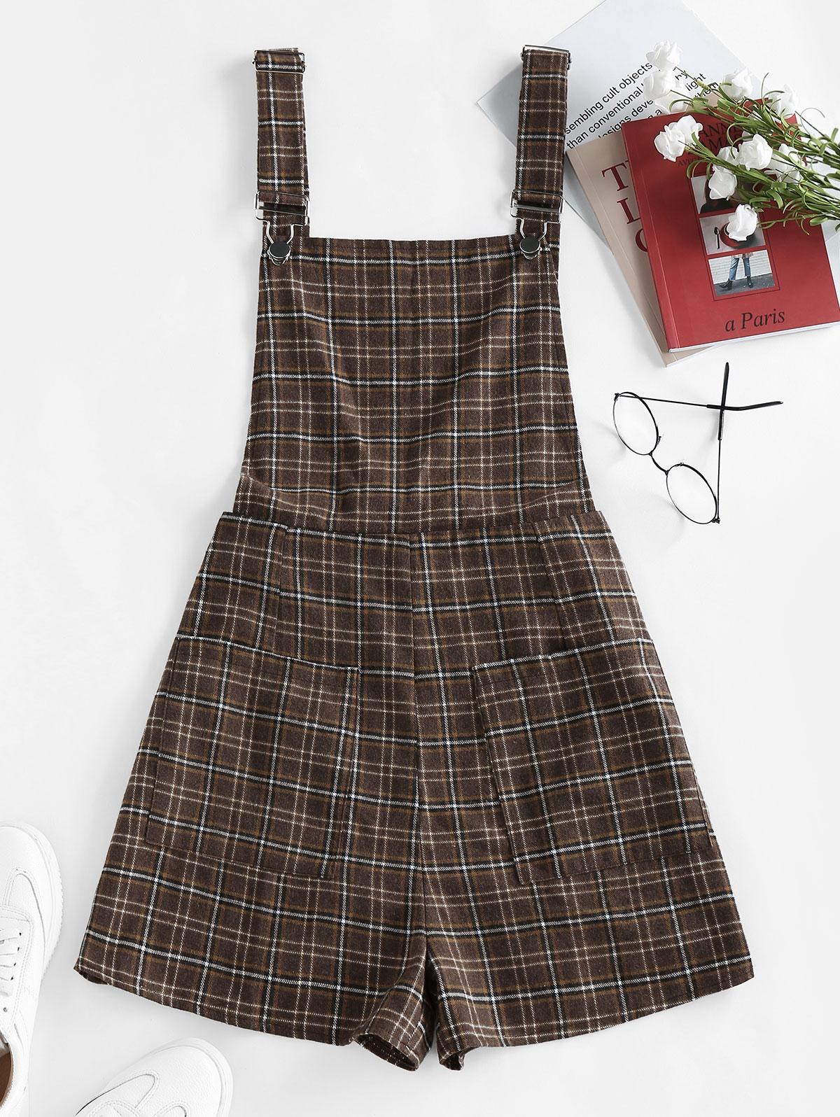 ZAFUL Front Pockets Plaid Pinafore Romper