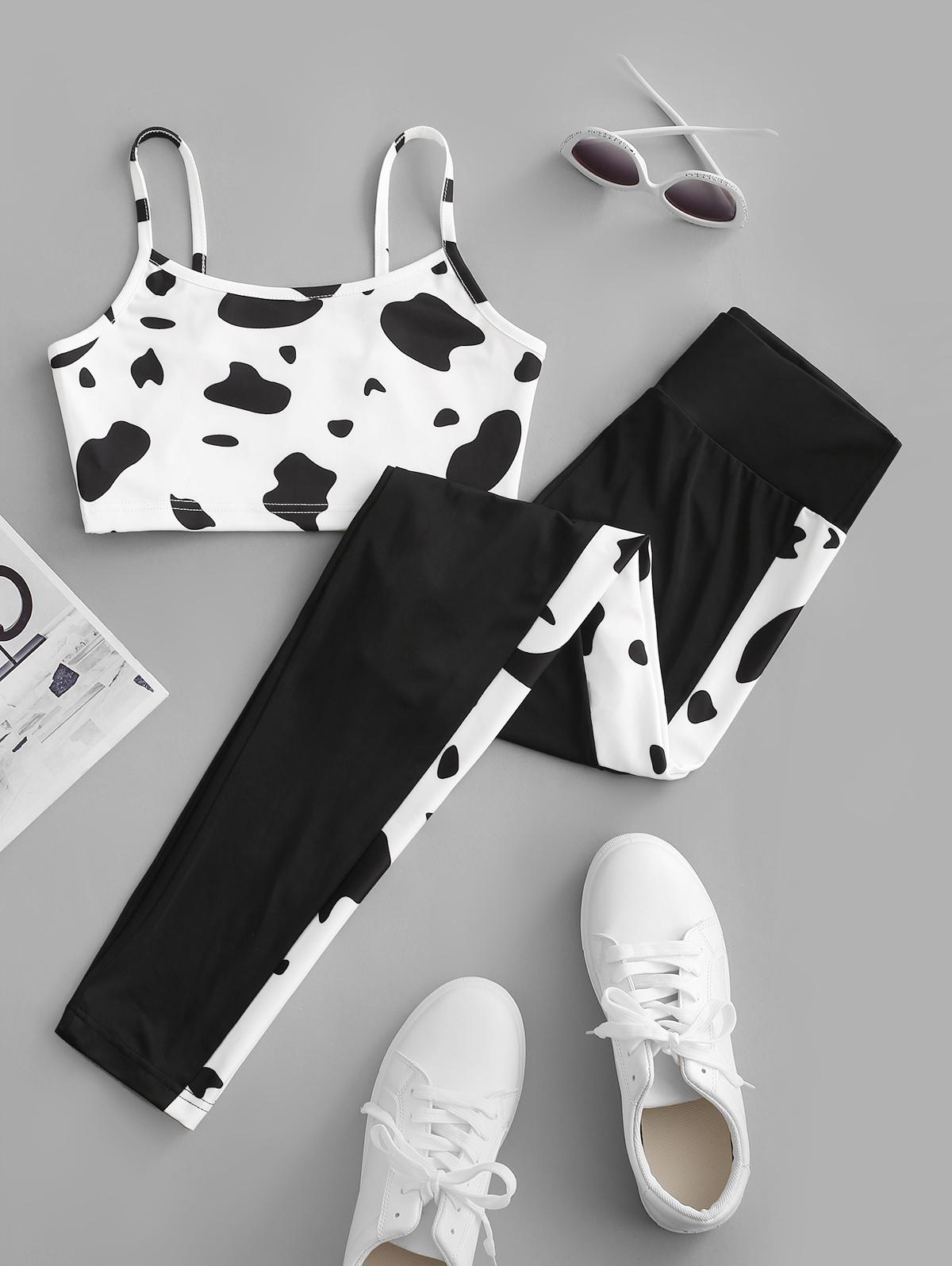 ZAFUL Active Cow Print Camisole and Leggings Set