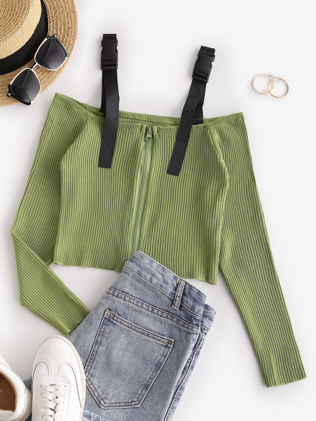 Buckled Zip Up Cold Shoulder Knitwear