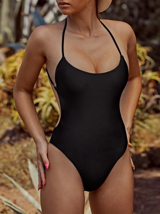womens ZAFUL Criss Cross Backless One-piece Swimsuit - BLACK S