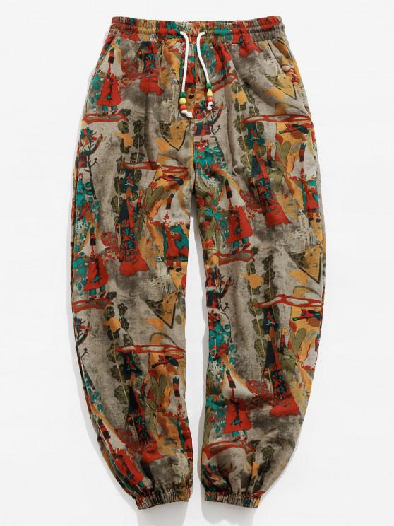 womens ZAFUL Vintage Printed Drawstring Casual Pants - MULTI 2XL