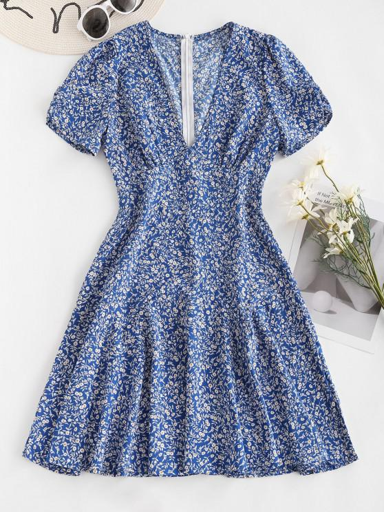 latest Empire Waist Gather Sleeve Ditsy Floral Dress - BLUE S