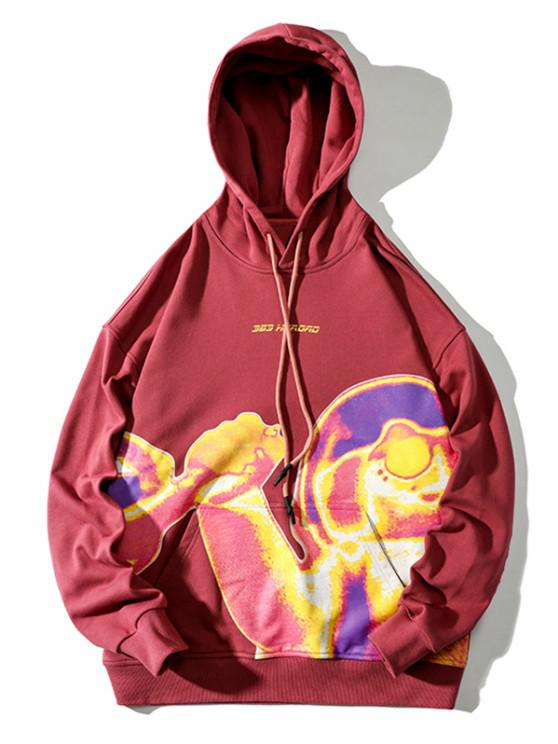 women's Graphic Print Kangaroo Pocket Funny Hoodie - CHESTNUT RED XL