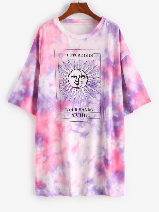 unique Tie Dye Sun Pattern Drop Shoulder Tee Dress - PURPLE L